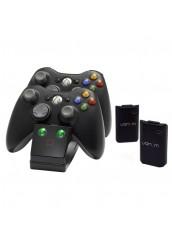 Xbox 360 Pultelių krovimo stotelė su baterijų komplektu