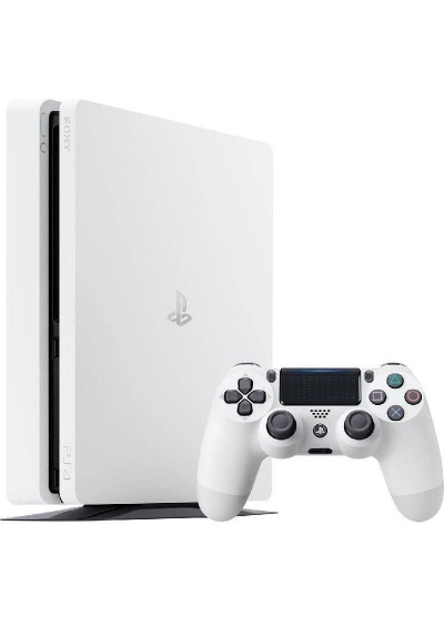 PS4 Slim White + 500GB + 1 Pultelis